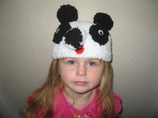 Panda Hat Modelled