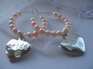 Bride and Groom wine glass charms