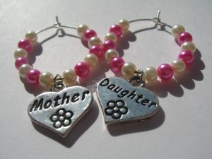 Mother and Daughter wine glass charms